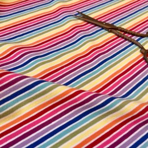 MULTI STRIPE White Rainbow Jersey Knit Elastane - 4 Way Stretch Rib Cuff Fabric - 155cm wide