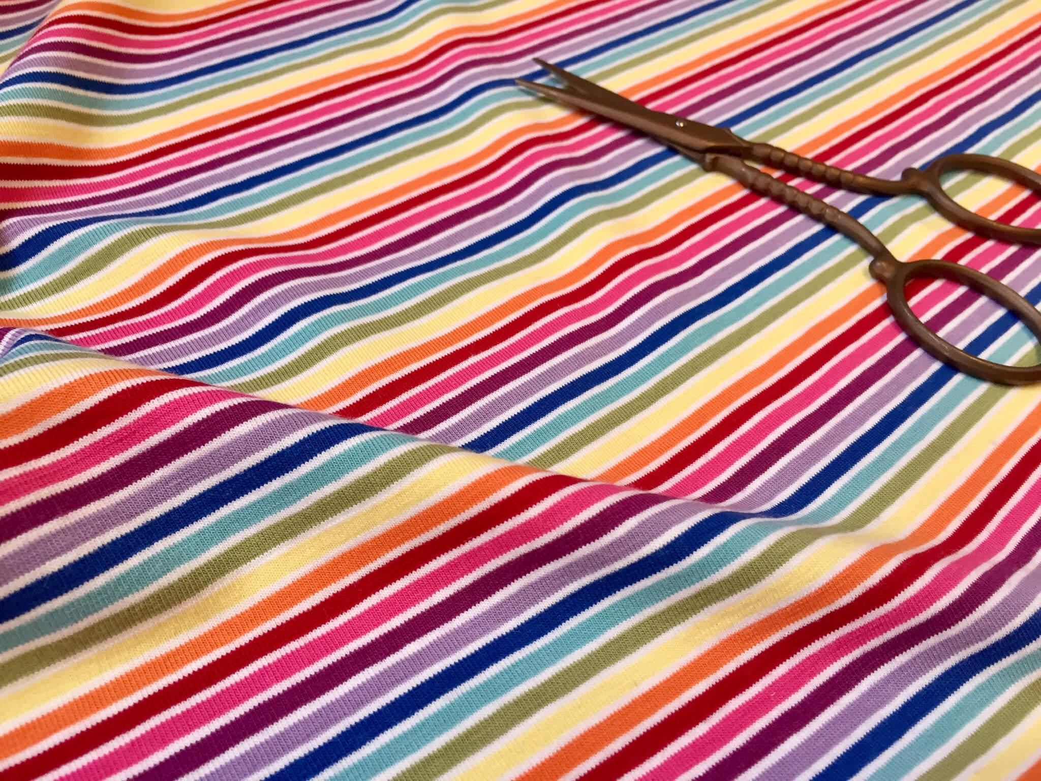 f3e2572be0e MULTI STRIPE White Rainbow Jersey Knit Elastane - 4 Way Stretch Rib Cuff  Fabric - 155cm