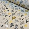 Mustard & Black Cactus Fabric Cacti Print - Kid Curtain Cotton Material - 55 inches wide
