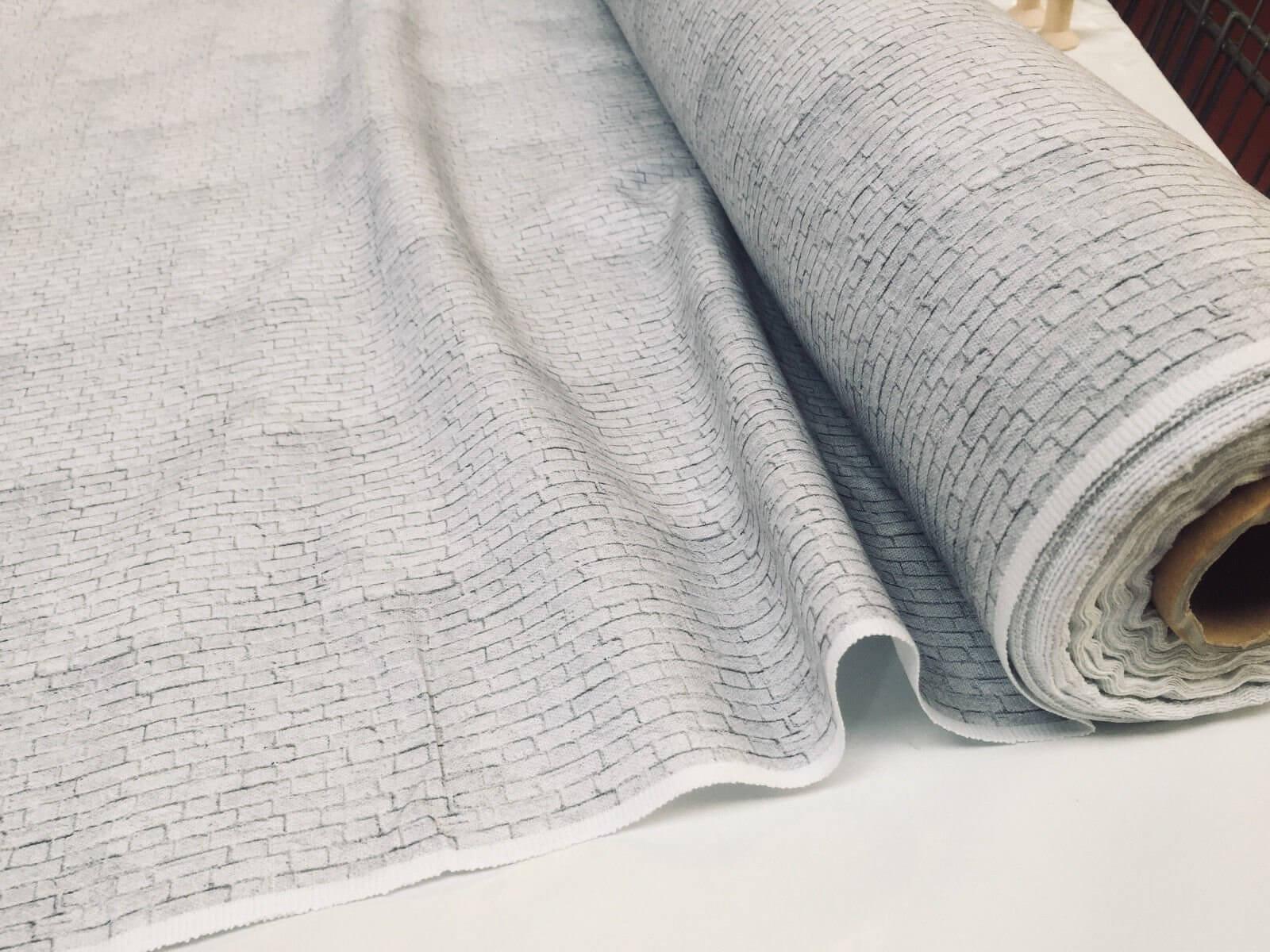 WHITE BRICK WALL Print Cotton Fabric Curtain Material stone bricks 140cm wide