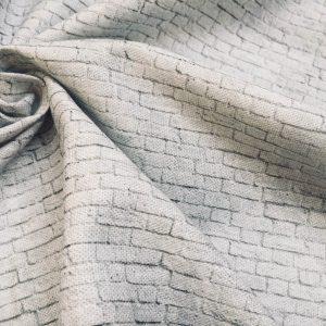 SMALL White Brick Wall Print Cotton Fabric - Stone Bricks Curtain Dress Backdrop Material - 55''/ 140cm wide