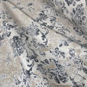 Antique Vintage Damask Print Fabric Baroque Material for Curtains Upholstery Dressmaking - 110'' (280cm) extra wide - Grey & Cream