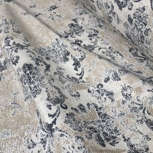 Antique Vintage Damask Print Fabric Baroque Material for Curtains Upholstery Dressmaking - 55'' (140cm) wide - Grey & Cream Canvas