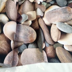 LARGE STONES Beach Pebbles - Cotton Fabric Curtain Upholstery material - 280cm extra wide - Brown Grey