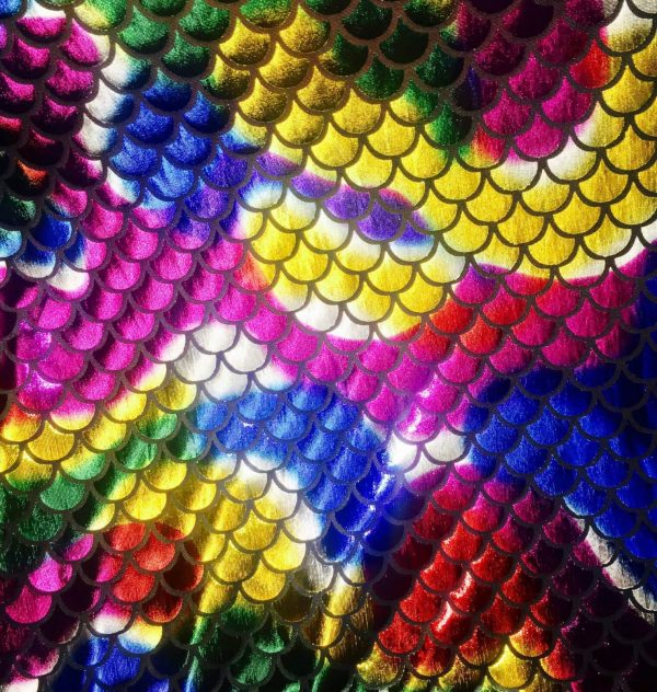 MERMAID Scale Fabric Fish Tail material - 2 W Stretch Spandex - 57''/145cm wide - RAINBOW
