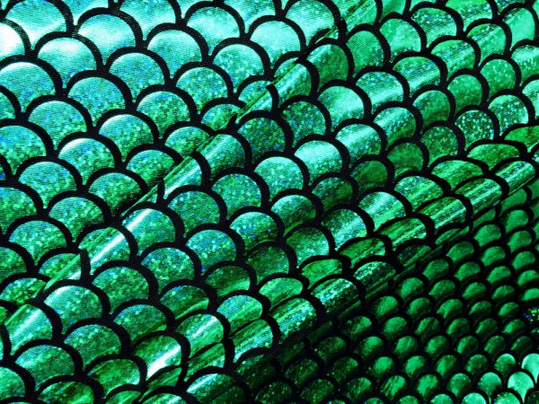 MERMAID Scale Fabric Fish Tail Material Stretch Spandex - 57''/145cm wide - GREEN BLACK