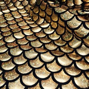 MERMAID Scale Fabric Fish Tale Foil - 2 Way Stretch Lycra Spandex Material - 150cm wide - Gold Hologram Scales on Black