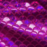 MERMAID Scale Fabric Fish Tale Foil - 2 Way Stretch Lycra Spandex Material - 150cm wide - Pink Hologram Scales
