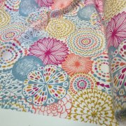 "Pink Flowers & Leaves Floral Mandala Fabric Curtain Material for Dress Decor Curtain Upholstery - 54"" wide"
