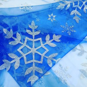 Frozen Elsa Silver Glitter Snowflake Disney Frozen Cape Fabric Material Organza for kids curtains cape - 150cm wide  -  Royal Blue