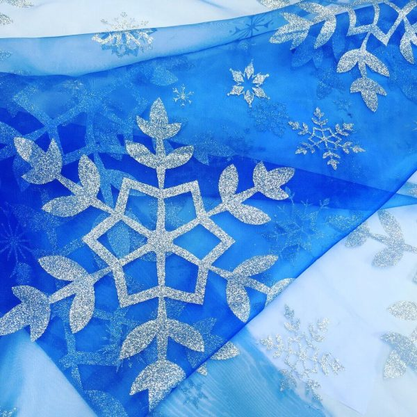 Frozen Elsa Silver Glitter Snowflake Disney Frozen Cape Fabric Material Organza for kids curtains cape - 150cm wide  -  Royal Blue