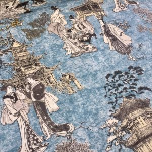 Geisha Japanese Pagoda Oriental Twill Curtain Fabric Material - 110'' extra wide textile - Blue, Mustard