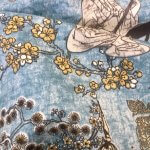 Geisha Japanese Pagoda Oriental Twill Curtain Fabric Material - 110'' extra wide textile - Blue, Mustard