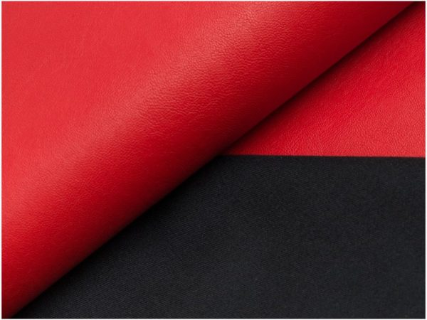 RED Soft Faux Leather Viscose Back Fabric Imitation PU Leather Material for clothes upholstery decor - 145cm wide