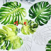 """Rose Hip Red Berry Palm Leaf Tropical Green Banana Leaves Fabric Curtain Dress - digital print fabric - 140cm or 55"""" wide"""