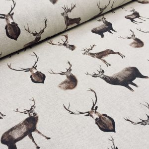 "Stag Head Deer Fabric - Curtain Cotton Material christmas moose elk - 55""/140cm  wide"