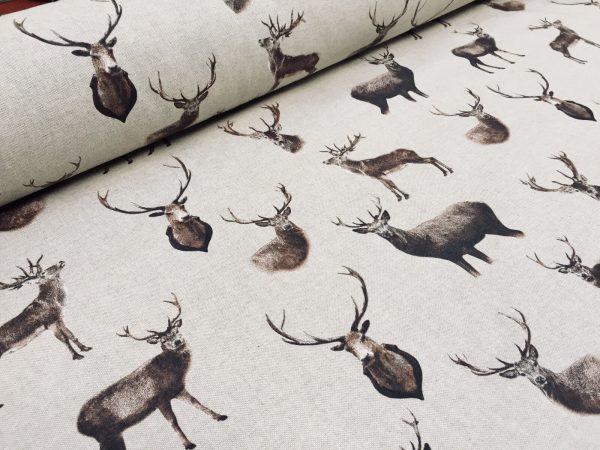 "Stag Head Deer Fabric - Curtain Cotton Material christmas moose elk - 55""/140cm  wide"