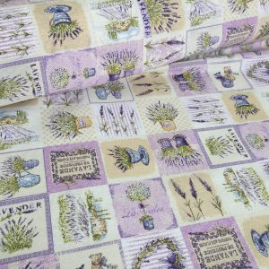 French Lavender Print Cotton Fabric Lilac Floral Curtains Upholstery - 140cm Wide