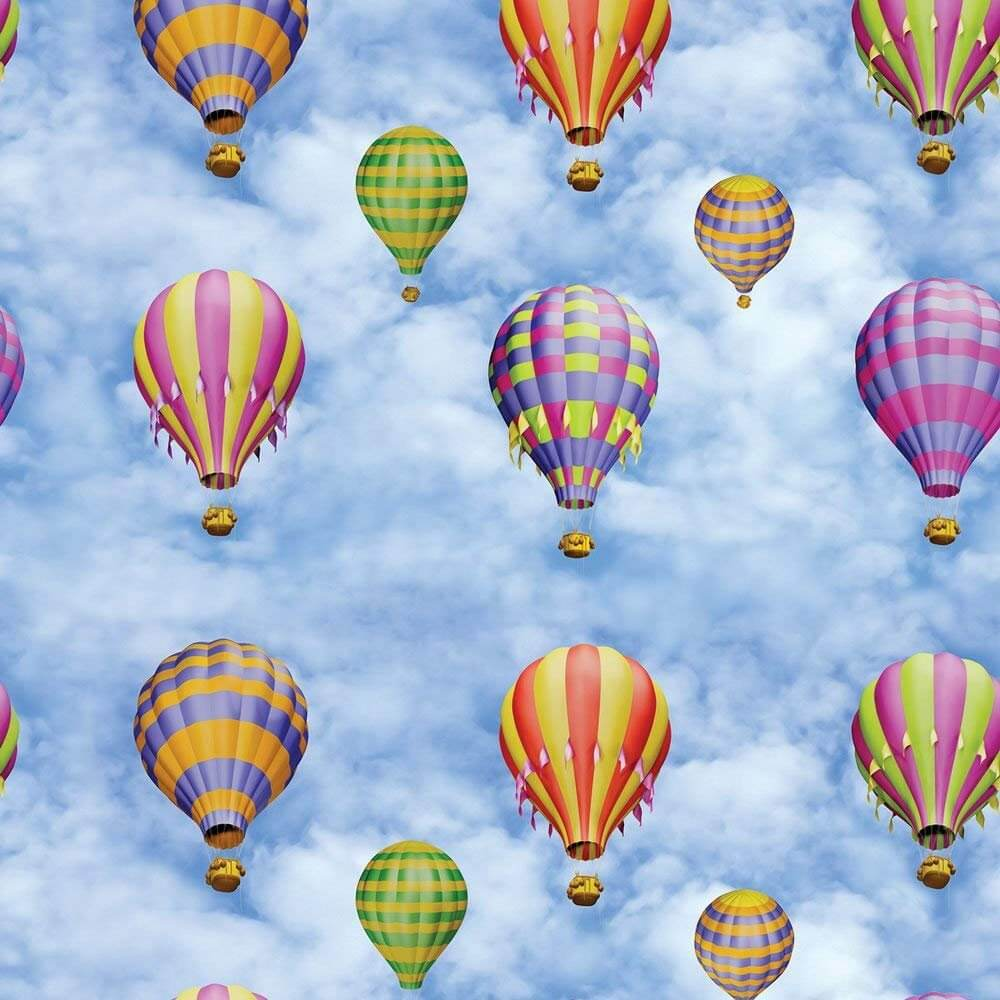 HOT AIR BALLOON Print Cotton Material Fabric for Curtains Upholstery Decor - 140cm wide (sold by the meter)