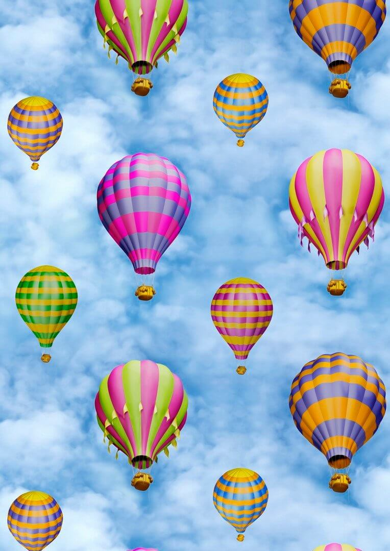 Sky Blue Hot Air Balloon Print Fabric Cotton Material For Curtains