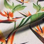 Bird of Paradise Ginger Plant Floral Fabric Orange Curtains Upholstery - 140cm Wide
