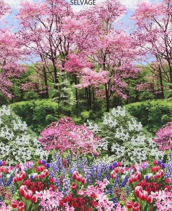 GARDEN 100% cotton fabric material floral spring - 112cm/44'' wide - Botanic Flower Garden Tulips Print Fabric