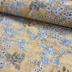 Japanese Sakura Blossom Cherry Floral Twill Curtain Fabric Oriental Furnishing Material - 110'' extra wide textile - Mustard, Blue