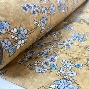 Japanese Sakura Blossom Cherry Floral Twill Curtain Fabric Oriental Furnishing Material - 55'' wide textile - Mustard, Blue