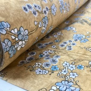 Japanese Sakura Blossom Cherry Floral Twill Curtain Fabric Oriental Furnishing Material - 55'' wide textile - Mustard, Blue