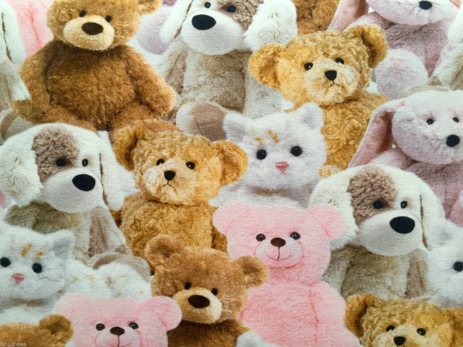 Sweet Teddy Bear Fabric Plush Toys Cats Bears Dogs Stretch Cotton Jersey Material For Kids 160cm Wide Pink Lush Fabric