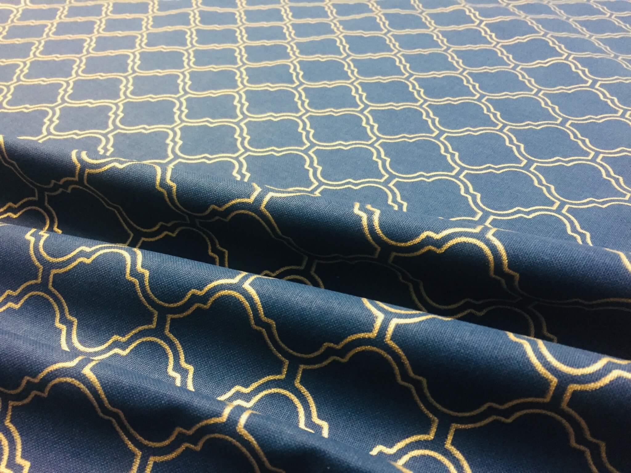 Gold Moroccan Arabic Damask Print Navy Blue Fabric ...