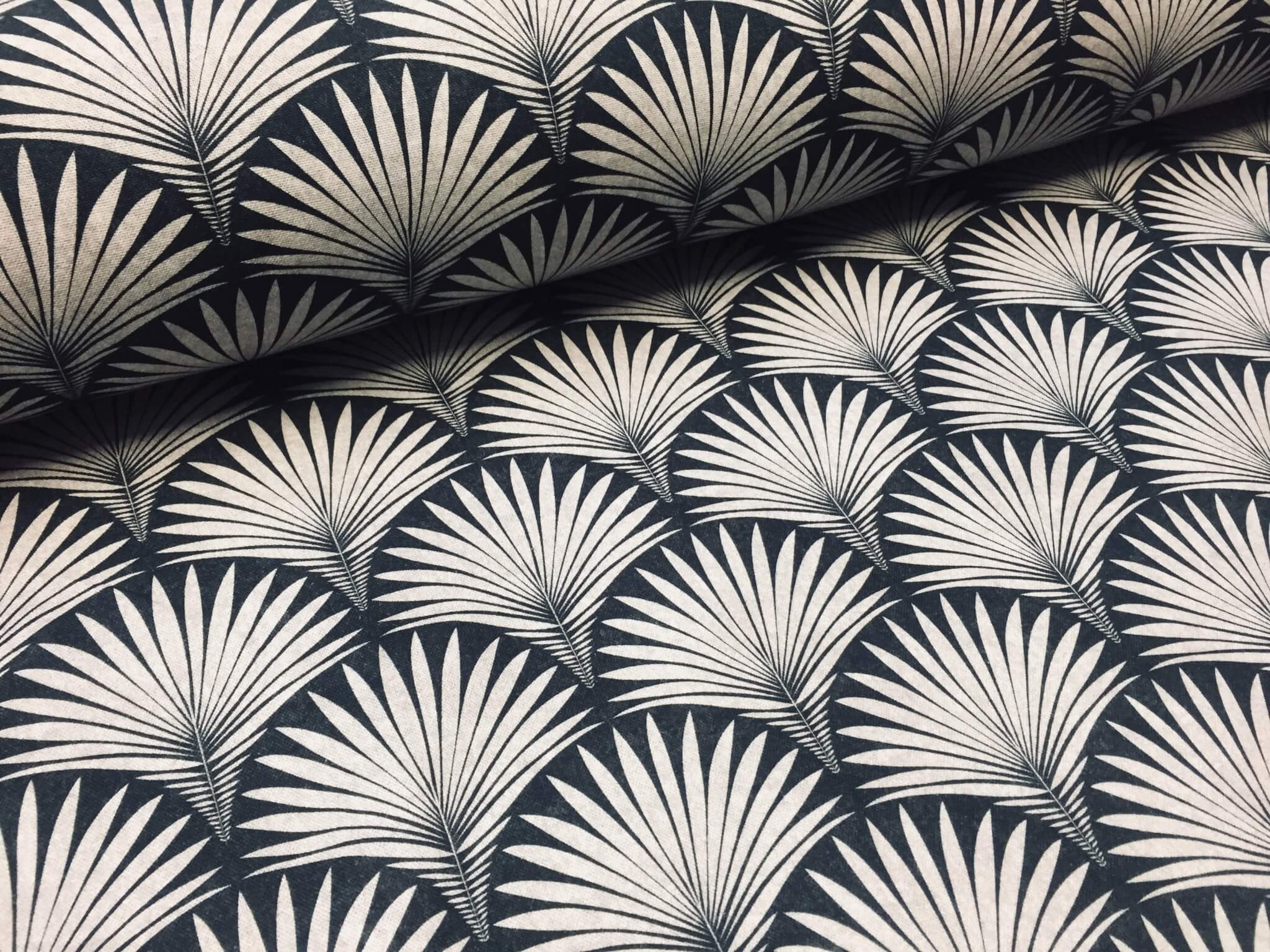Geometric Damask Floral Fan Art Deco Fabric Curtain