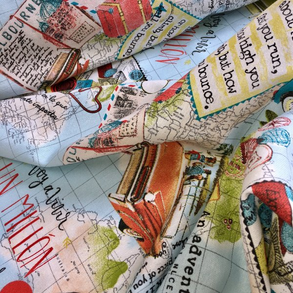 Travel Bon Voyage Vintage World Map Designer Fabric for Curtains Upholstery Dress Cotton - 140cm wide - Blue