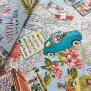 Travel Bon Voyage Vintage World Map Designer Fabric for Curtains Upholstery Dress Cotton - 280cm extra wide - Blue