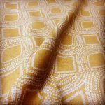Art Deco Damask Rhombus Diamond Print Fabric Floral Cotton Material for Curtains Upholstery Home Decor - 140cm wide - Ocre Mustard Cream