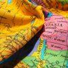 "GLOBE World Map Fabric Atlas Globus Material  - Soft 100% Cotton Poplin curtains dressmaking - 53"" (136cm) wide - Turquoise Blue"