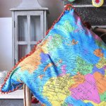 "GLOBE World Map Fabric Atlas Globus Material  - Soft 100% Cotton Poplin curtains dressmaking - 53"" (136cm) wide - Turquoise Blue"