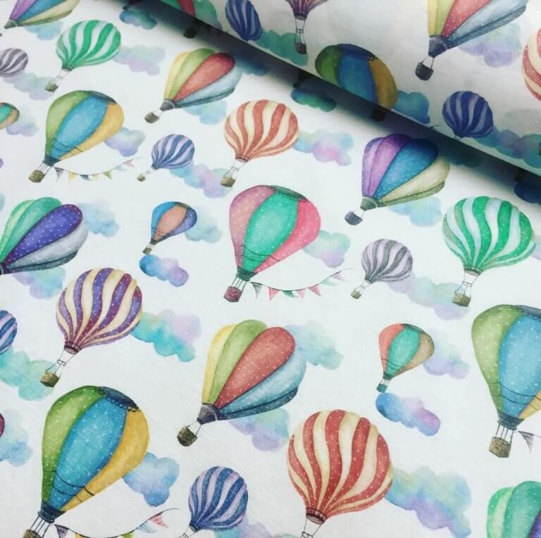 White HOT AIR BALLOON Print Cotton Material Fabric for Dress Making Curtains Upholstery Home Decor - 140cm wide (sold by the meter)