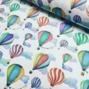White Hot Air Balloon Print Fabric Cotton Material for Dress Making Curtains Upholstery Home Decor - 280cm EXTRA WIDE