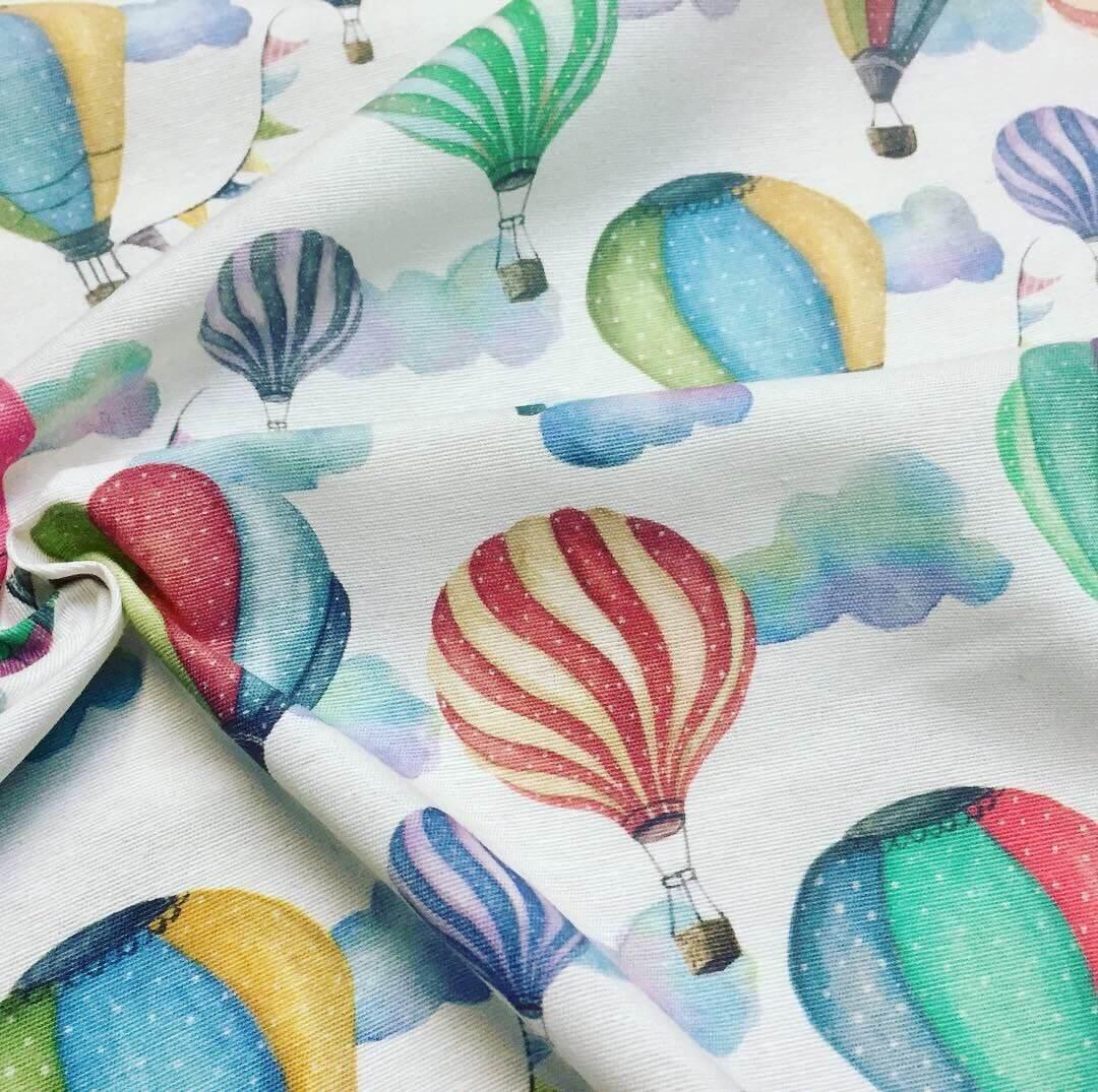 White HOT AIR BALLOON Fabric Curtain Cotton Home Decor Material 280cm extra wide