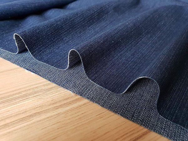 Medium Blue Denim Fabric - Denim Slub Stretch Washed Jeans Cotton Material - 140cm wide