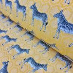 MUSTARD ZEBRA Jacquard Cotton Fabric Upholstery Material animal cloth- 55''/ 140cm wide