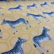 MUSTARD ZEBRA Jacquard Cotton Fabric Upholstery Material animal cloth- 55''/ 140cm wide