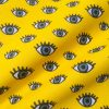 "Blue Eyes on Yellow Fabric Watching Eye Print Material - Dressmaking Home Decor Curtain Upholstery Textile - 140cm (55"") wide"