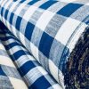 Gingham Linen Checked Linen Fabric Plaid Material Buffalo Check Cotton Yarn -140cm wide- Black, Royal Blue, Duck Blue, Red