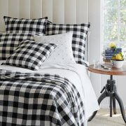 Gingham Linen Checked Linen Fabric Plaid Material Buffalo Check Cotton Yarn -140cm wide- Black & White