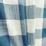 Gingham Linen Checked Linen Fabric Plaid Material Buffalo Check Cotton Yarn -140cm wide- Duck Blue & White