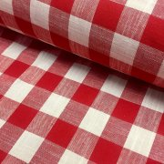 Gingham Linen Checked Linen Fabric Plaid Material Buffalo Check Cotton Yarn -140cm wide- Red & White
