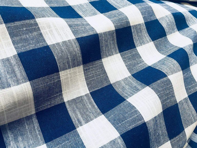 Gingham Linen Checked Linen Fabric Plaid Material Buffalo Check Cotton Yarn -140cm wide- Royal Blue & White