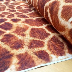 Giraffe Fabric Digital Animal Print Cotton Material - curtains, decor, dress, furnishing - Brown, Bronze & Cream Squares -55''/140cm wide